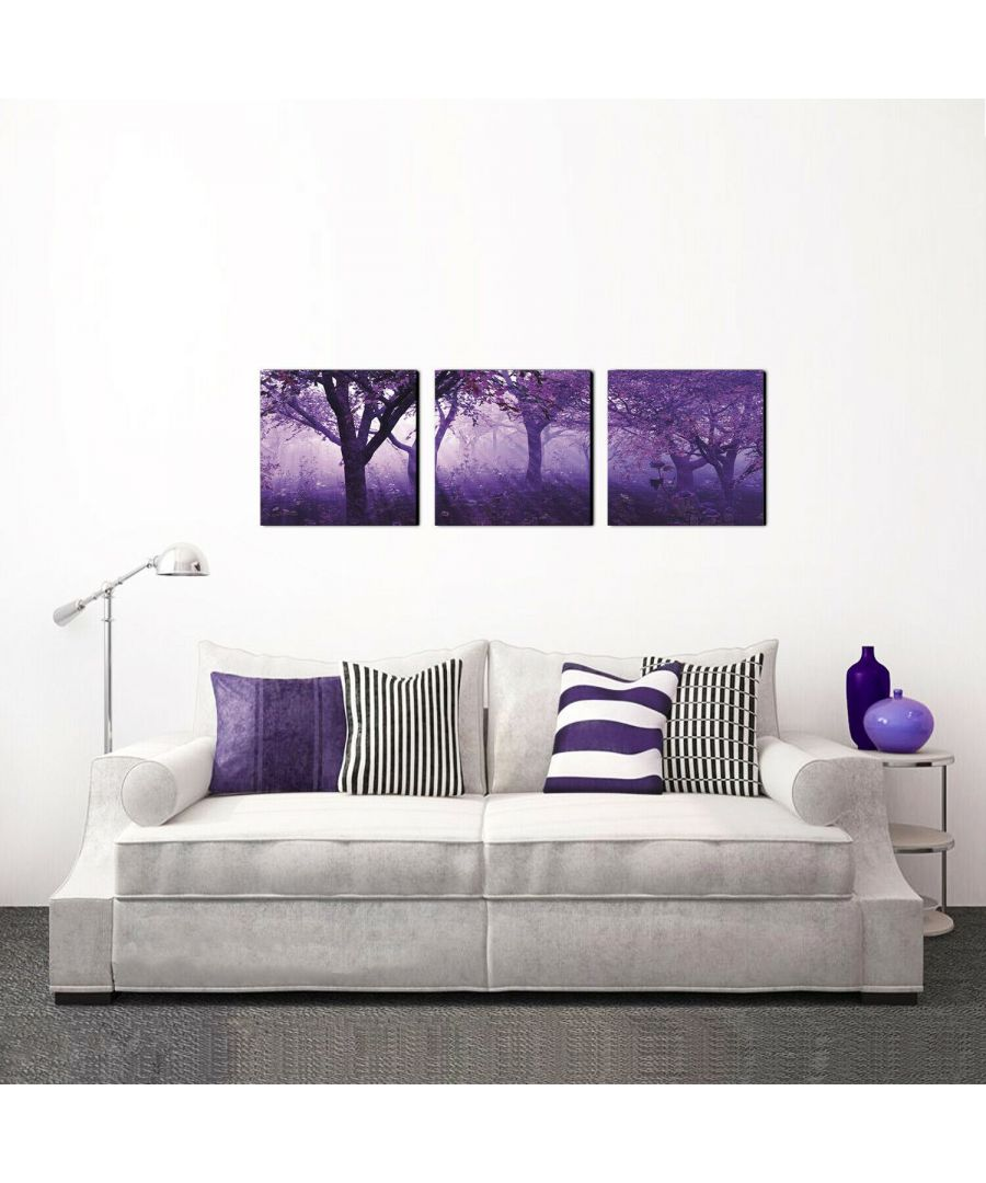 Image for Furinno SeniA Purple Trees 3-Panel MDF Framed Photography Triptych Print, 48 x 16-inch