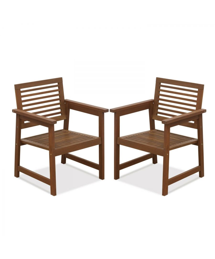 Image for Furinno Tioman Hardwood Outdoor Armchair without Cushion, Set of Two, Natural
