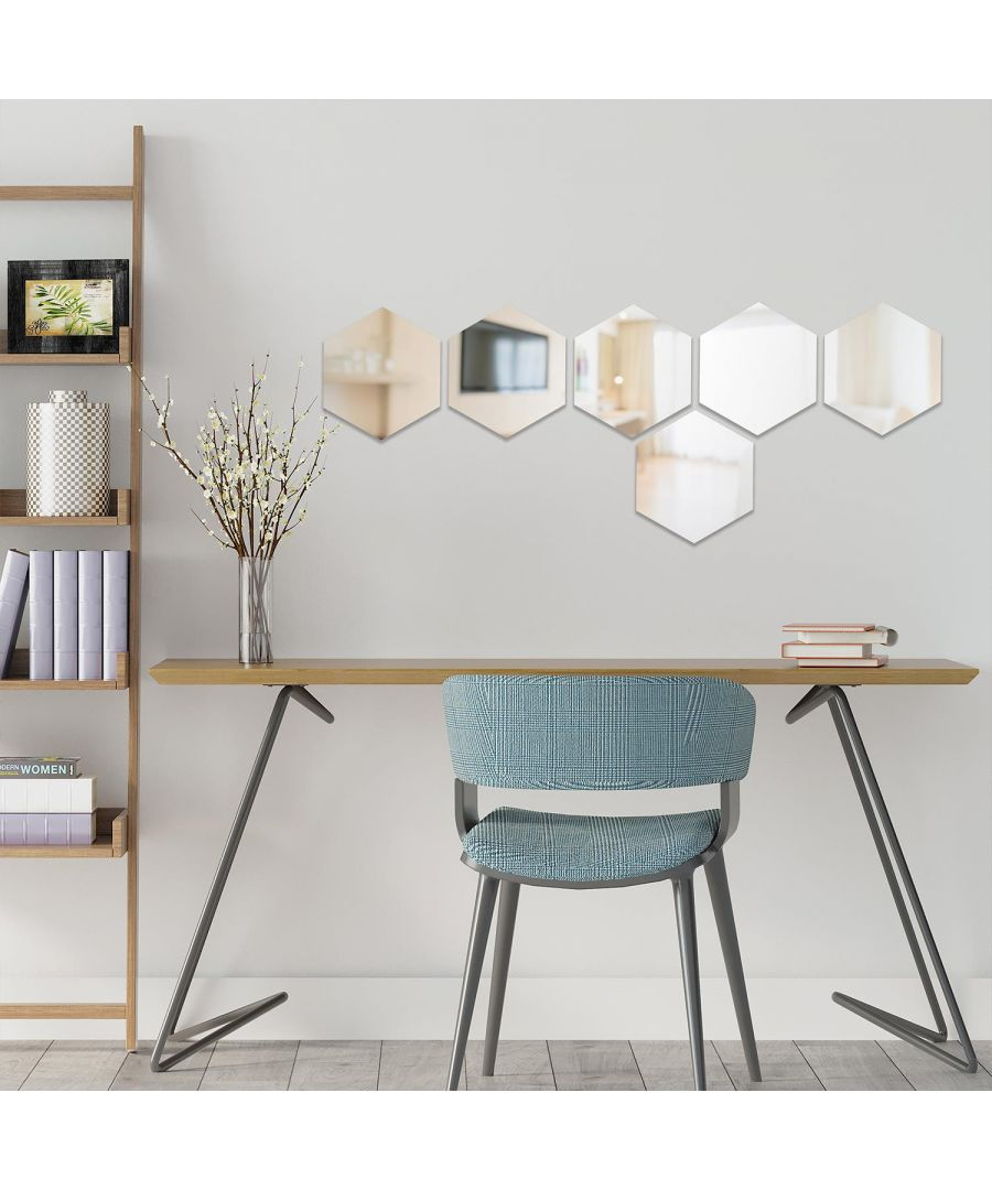 Image for Set Hexagonal Mirror 15 cm - 6 pcs wall decal, wall decal bedroom, wall decal living room, wall decoration living room, wall stickers 17.5 x 15 cm / 6.8 x 5.9 in 6 pcs