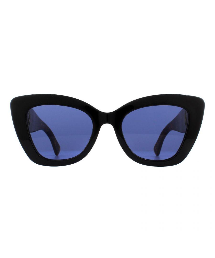 Image for Fendi Sunglasses FF 0327/S 807 KU Black with Fendi Signature Pattern Temples Blue