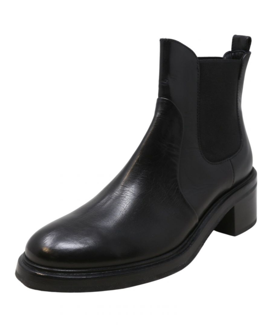 Image for AGL Women's Heeled Chelsea Boots Black Ankle-High Leather Boot - 9.5 M
