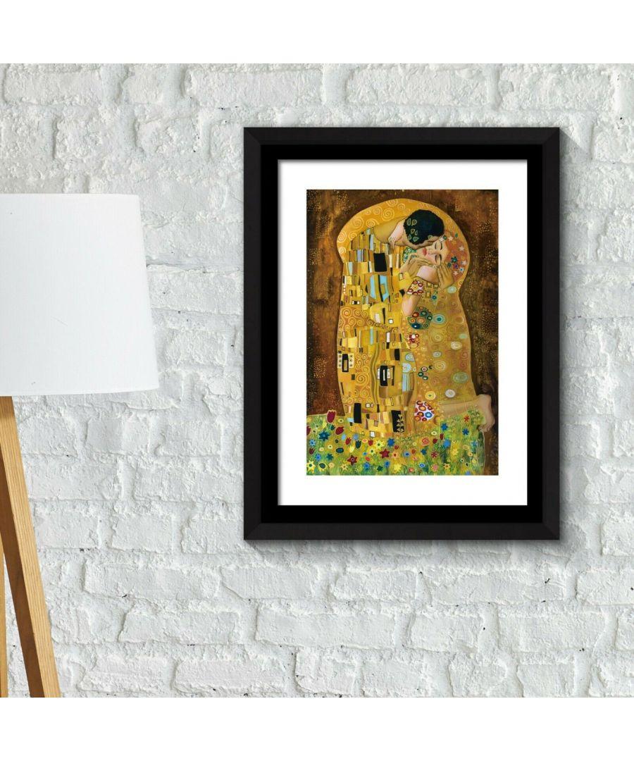 Image for Combo of Framed Art 2in1 Painting Poster - The Kiss, 1907 by Gustav Klimt Framed Photo, Framed Art