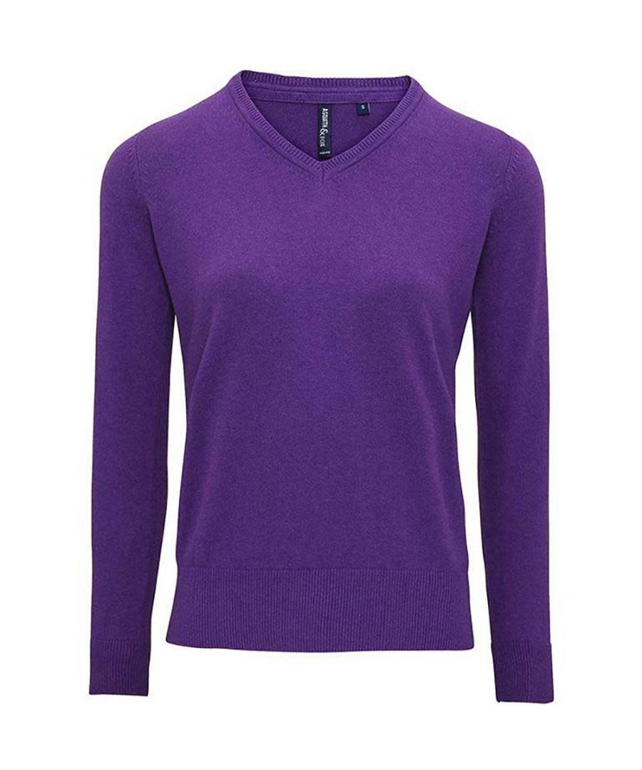 Image for Asquith And Fox Womens/Ladies V-Neck Sweater (Purple Heather)