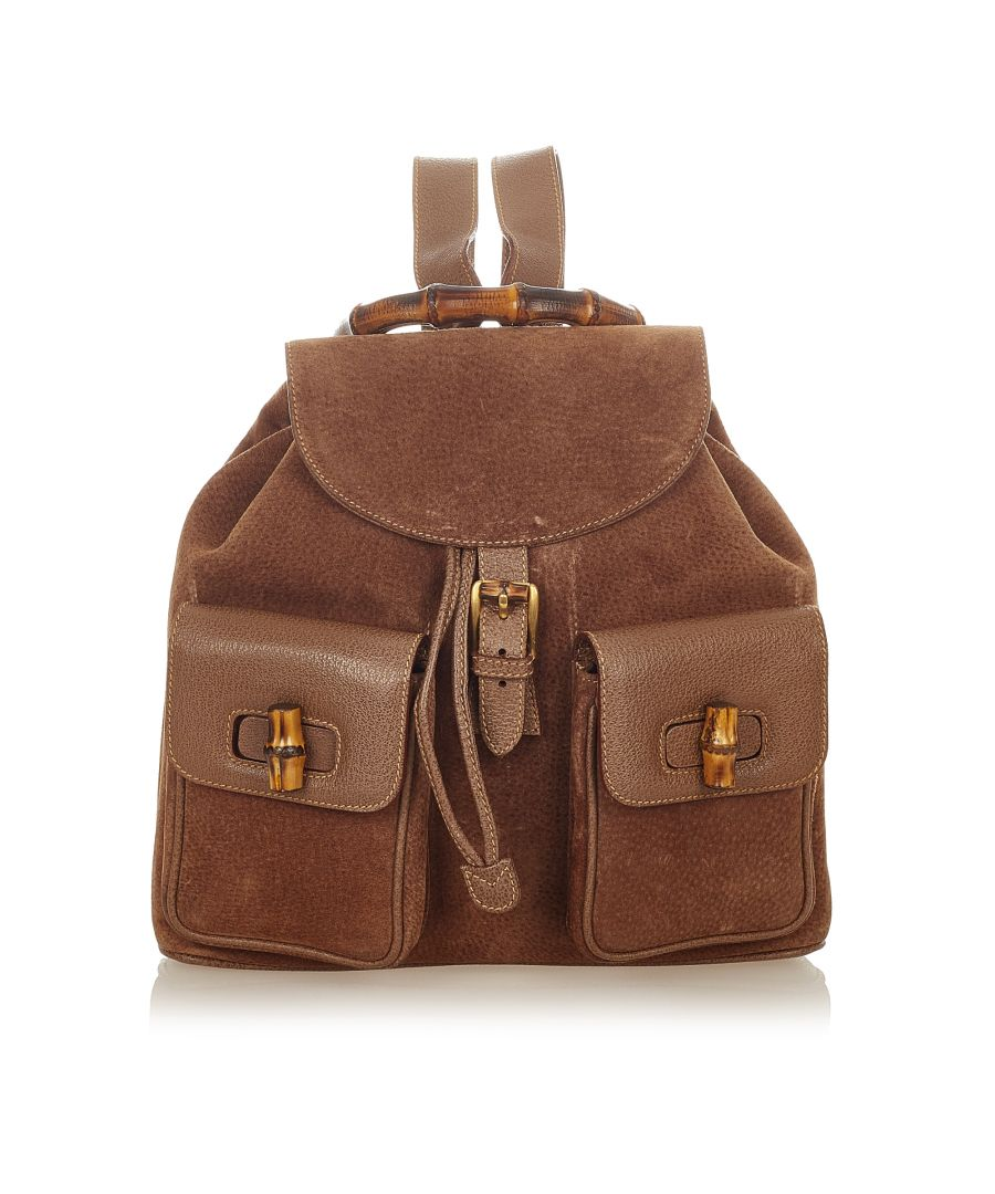 Image for Vintage Gucci Bamboo Suede Backpack Brown