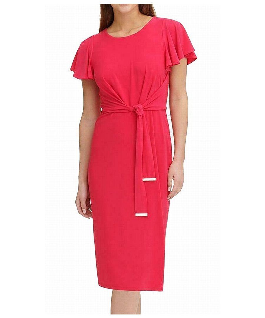 Image for Tommy Hilfiger Women's Pink Jersey Midi Flutter Sleeve Wrap Dress