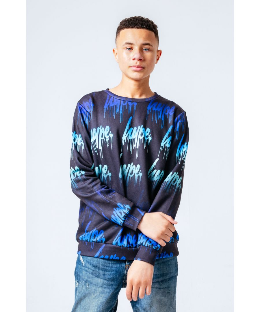 Image for Hype Blue Drips Repeat Logo Kids Crewneck