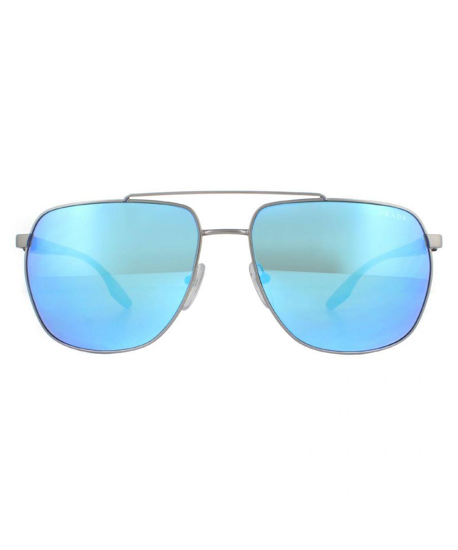 Image for Prada Sport Sunglasses PS55VS 7CQ5M2 Matte Gunmetal Light Green Blue Mirror