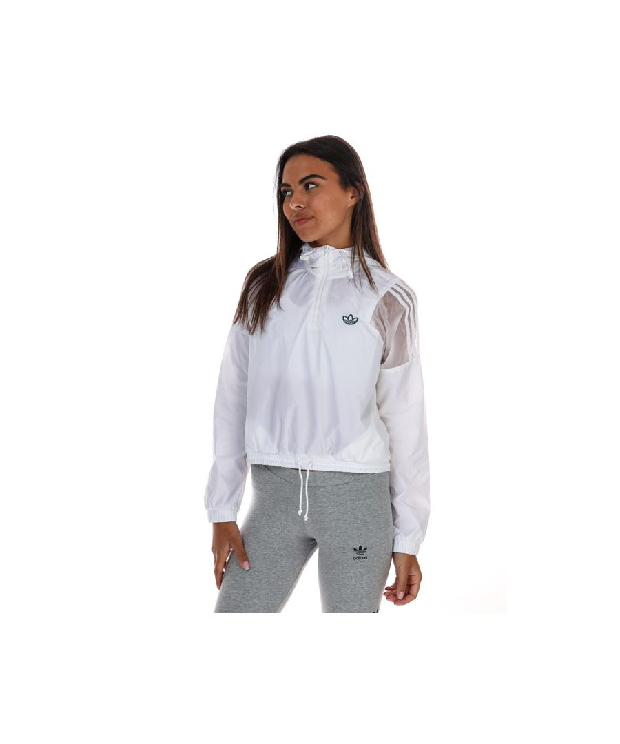 Image for Women's Adidas Originals Cropped Windbreaker Jacket in White