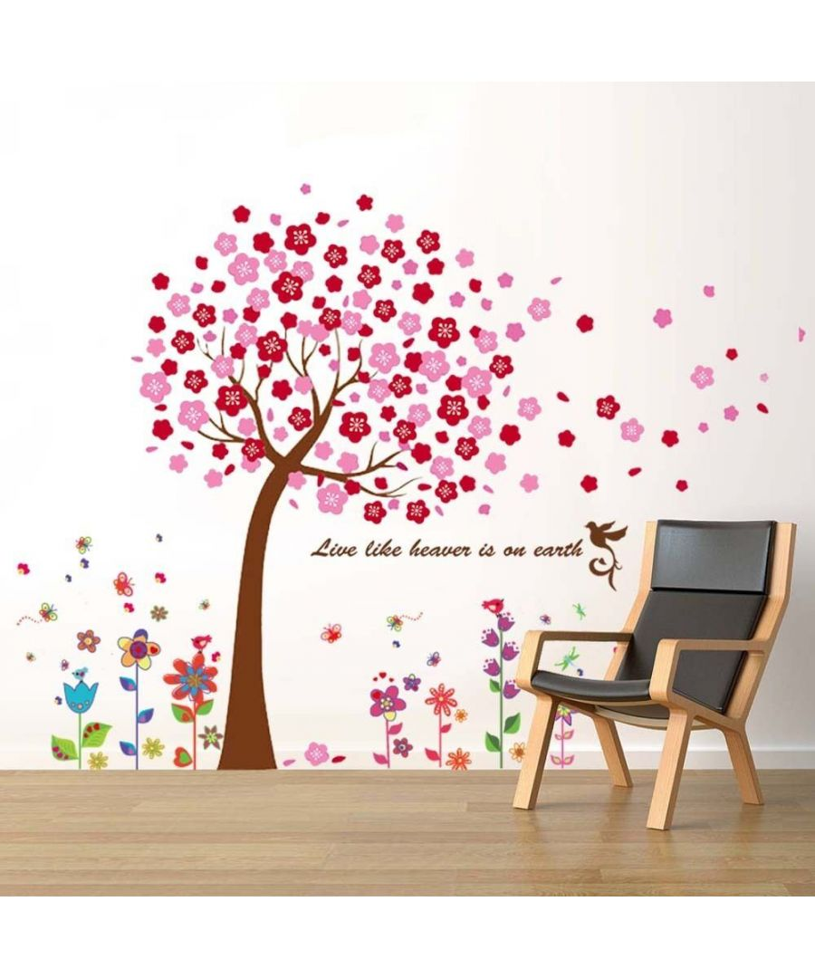 Image for Huge Pink Tree + Flowers , Peel and Stick, self-adhesive, Living Room Wall Sticker