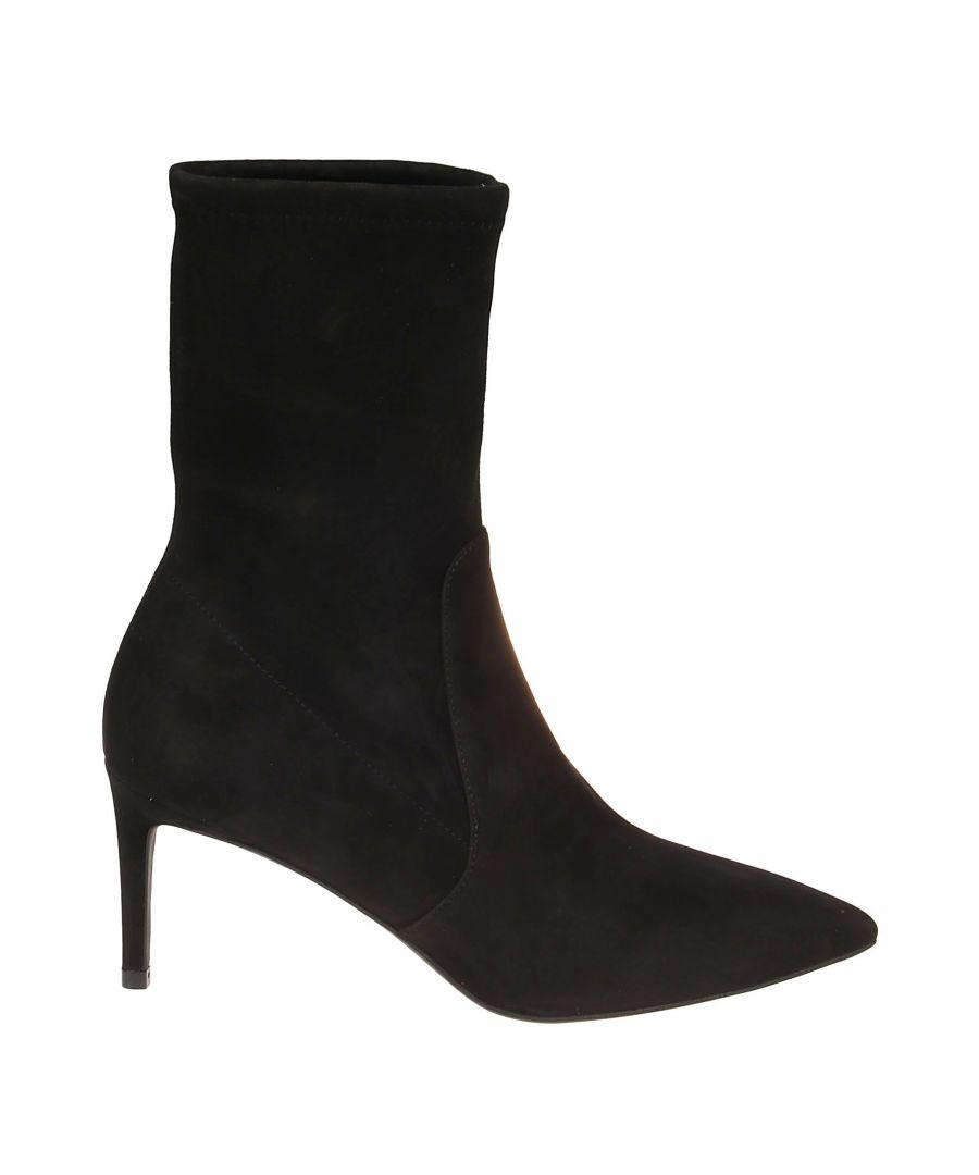 Image for STUART WEITZMAN WOMEN'S WREN75BLASUS BLACK SUEDE ANKLE BOOTS