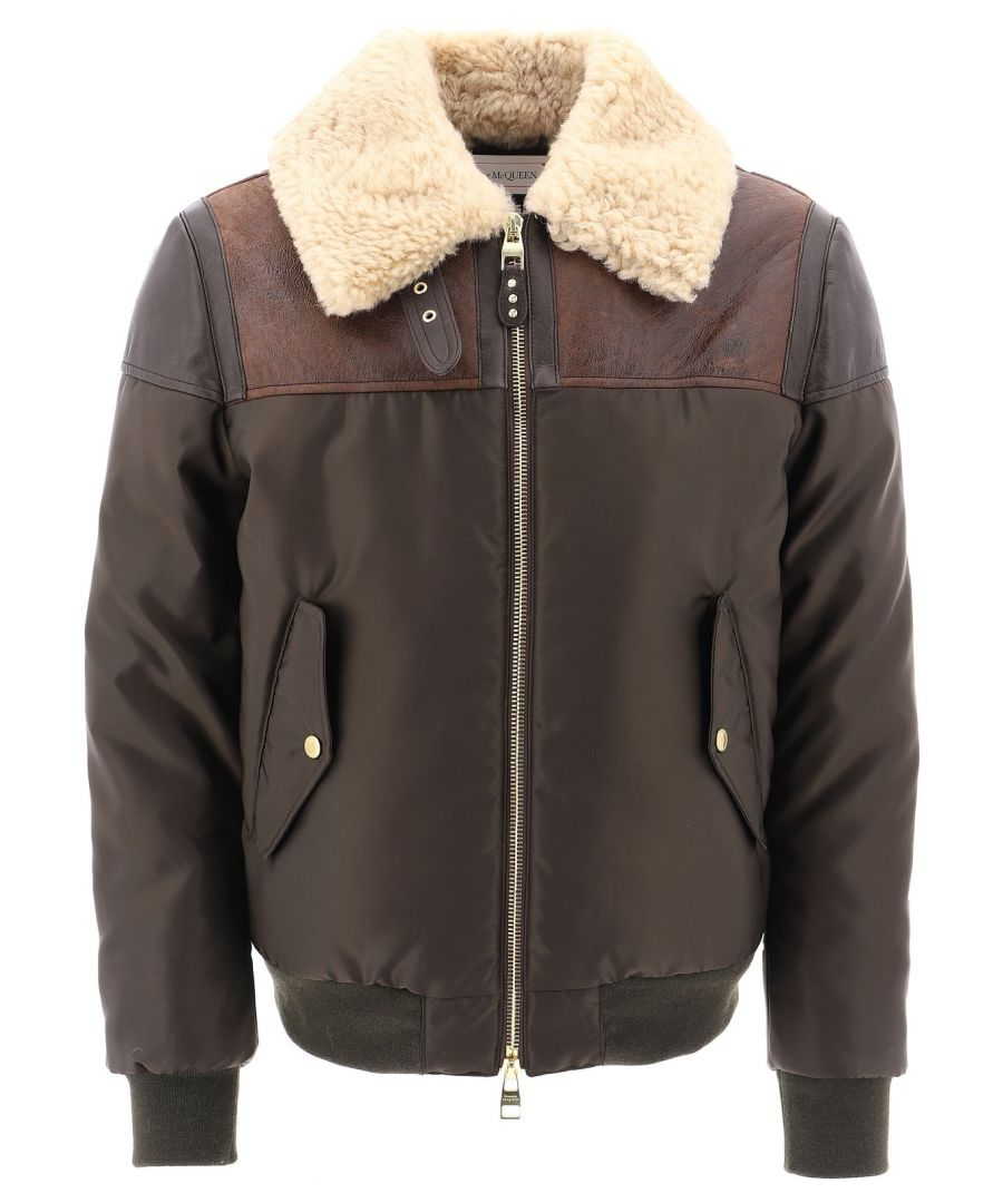 Image for ALEXANDER MCQUEEN MEN'S 576106Q5HRV2915 BROWN LEATHER OUTERWEAR JACKET