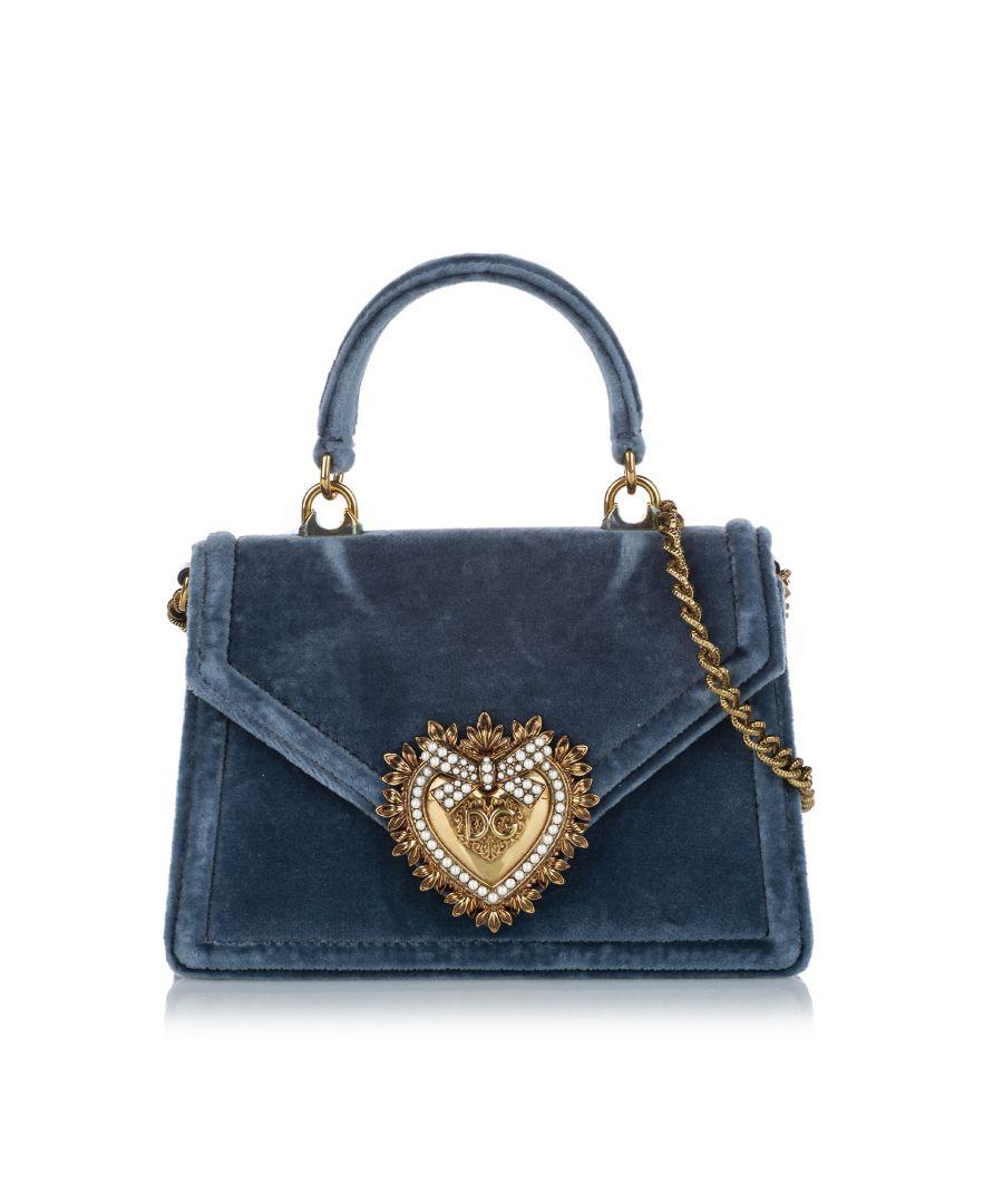 Image for Vintage Dolce&Gabbana Small Devotion Velvet Satchel Blue
