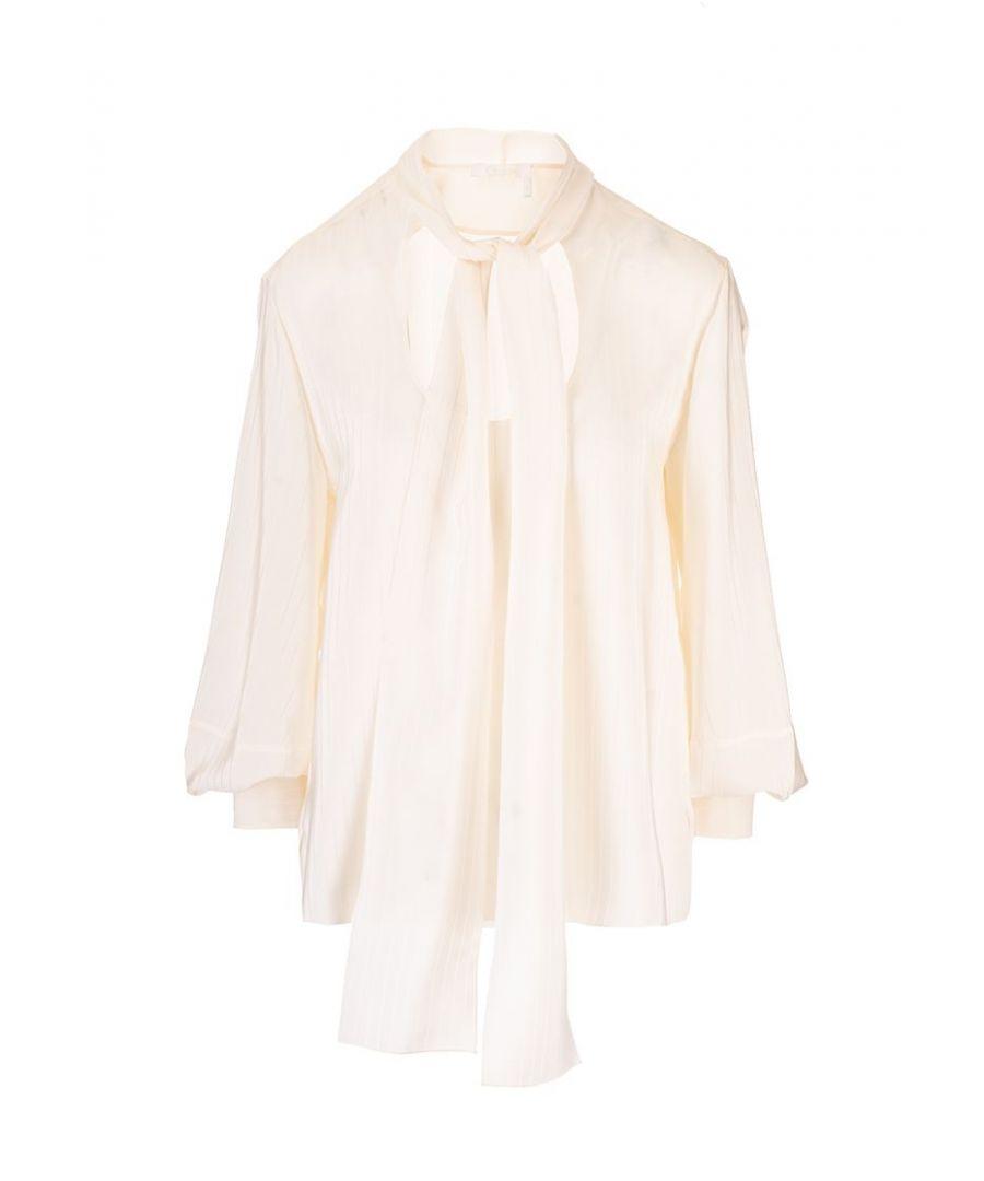 Image for CHLOÉ WOMEN'S CHC20UHT25307117 WHITE SILK BLOUSE