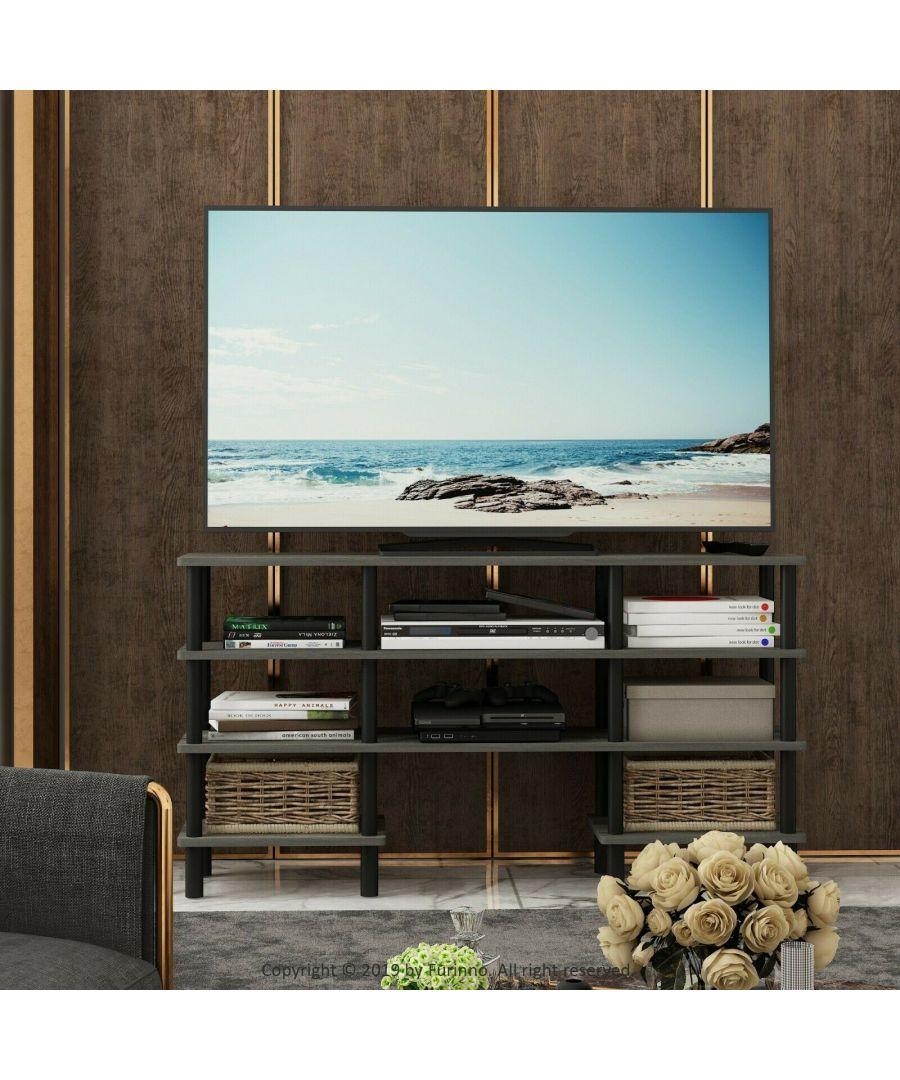 Image for Furinno Turn-N-Tube 4-Tier Multipurpose Wide Shelf TV Stand, French Oak Grey/Black
