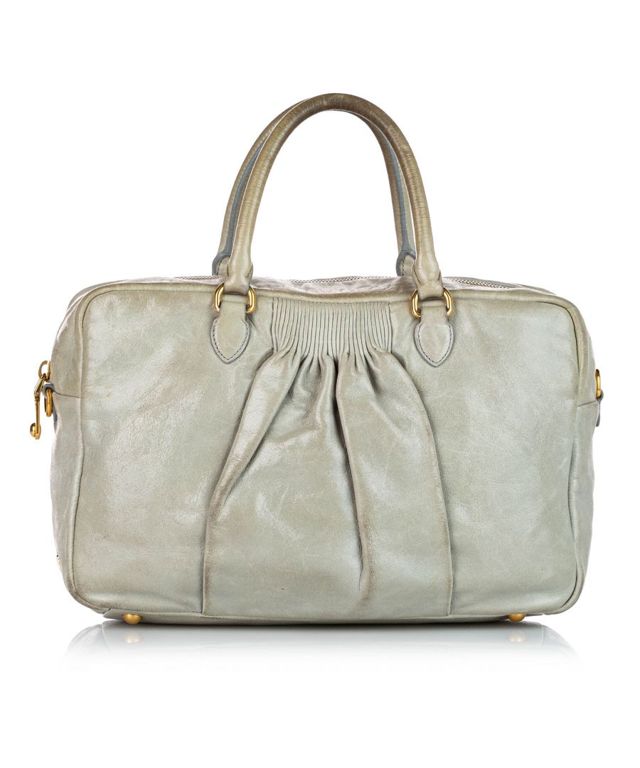 Image for Vintage Miu Miu Leather Handbag Gray
