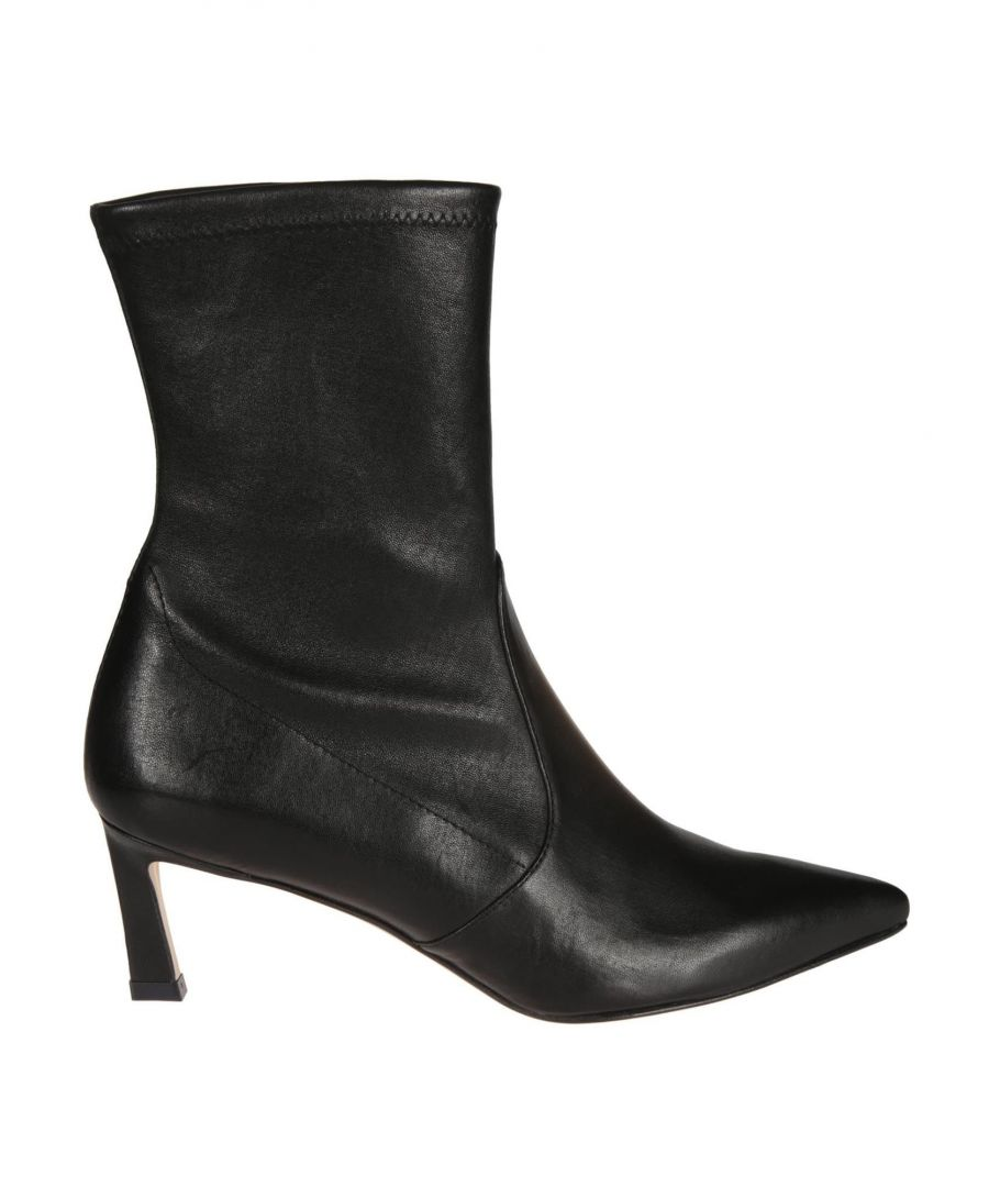 Image for STUART WEITZMAN WOMEN'S RAPTURE55NAPPABLACK BLACK LEATHER ANKLE BOOTS