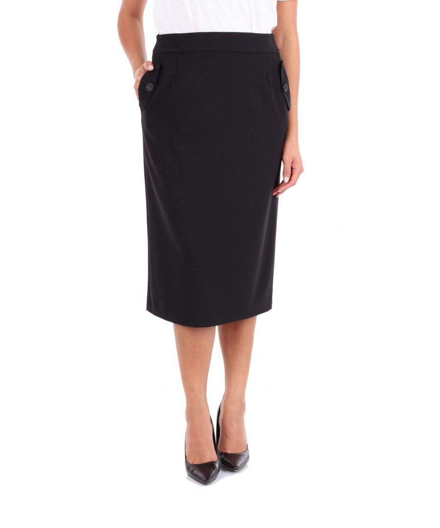 Image for LES COPAINS WOMEN'S 0J4031BLACK BLACK POLYESTER SKIRT