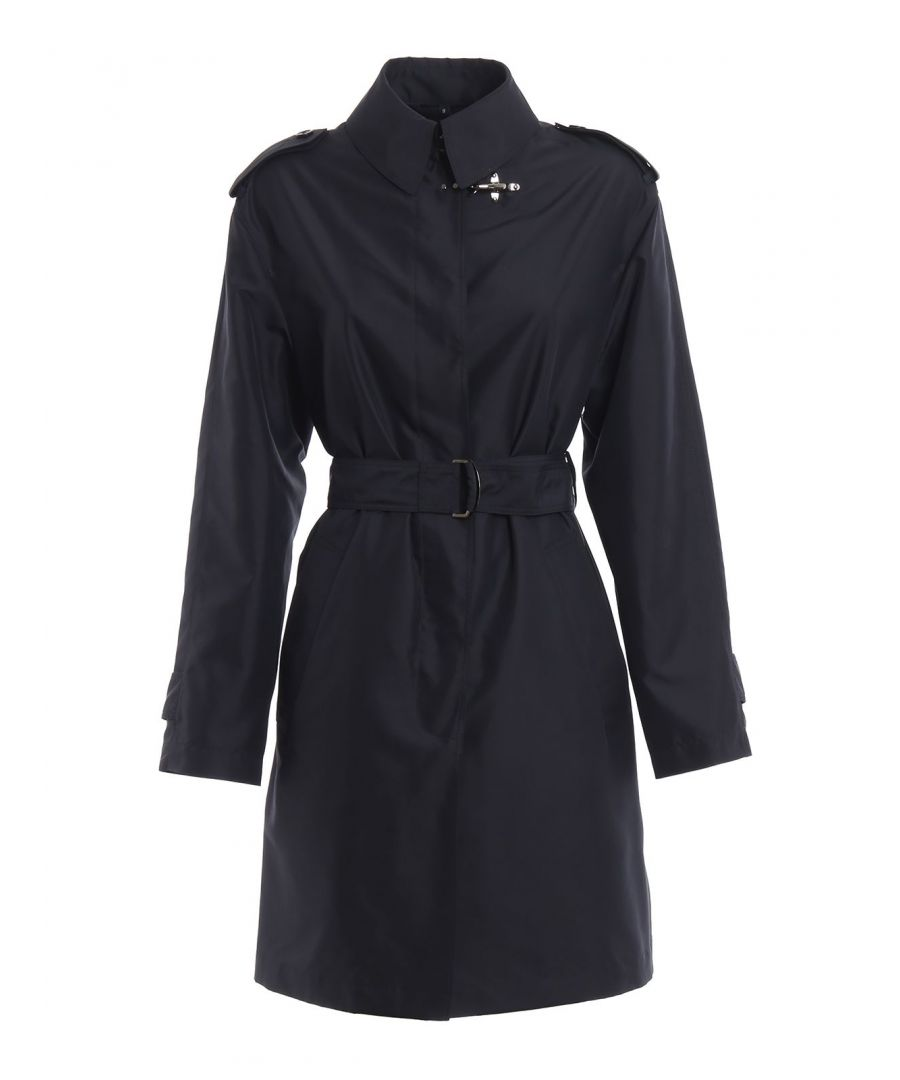 Image for FAY WOMEN'S NAW60383790AXXU808 BLUE POLYESTER TRENCH COAT