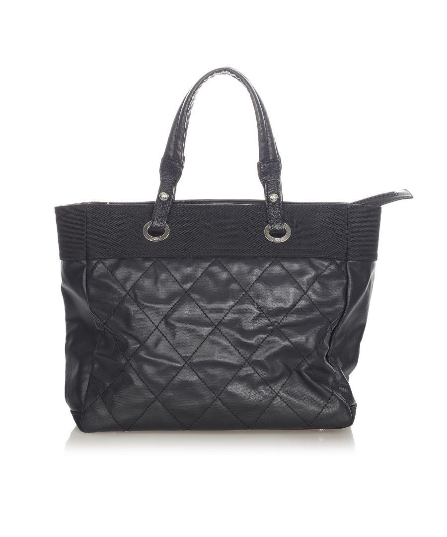 Image for Vintage Chanel Paris Biarritz Tote Bag Black