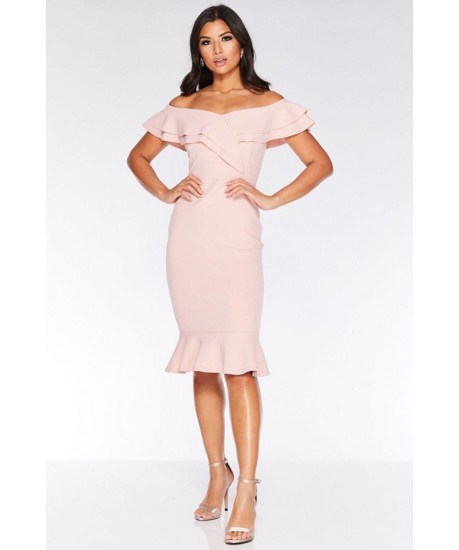 Image for Pink Crepe Frill Hem Midi Dress