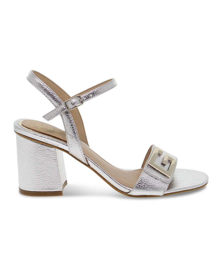 Image for GUESS WOMEN'S GUESSFL6MC2A SILVER LEATHER SANDALS