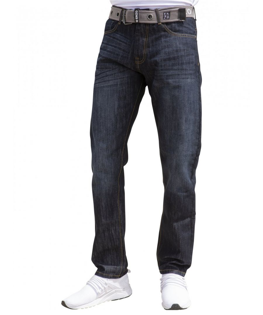 Image for Mens Designer  Regular  Fit Denim Jeans | Enzo Designer Menswear