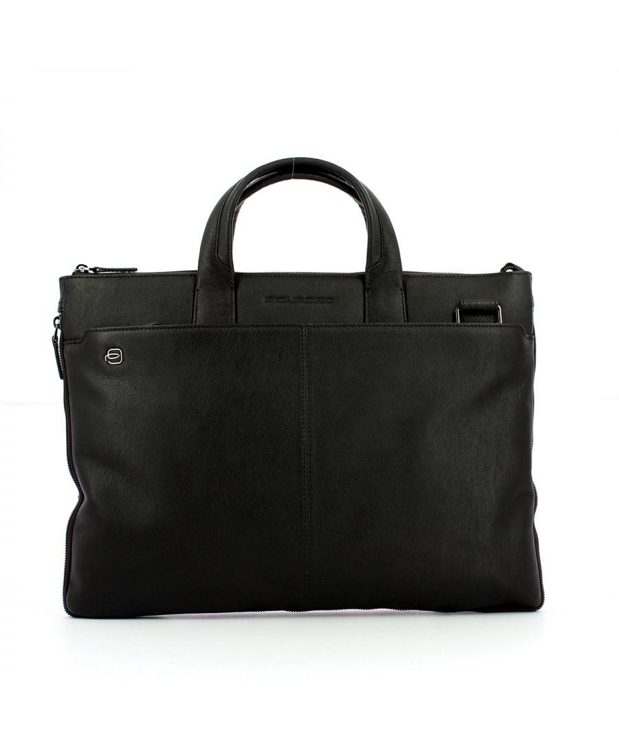 Image for Exp. Slim Briefcase Blue Square 15.6 Piquadro TESTA MORO