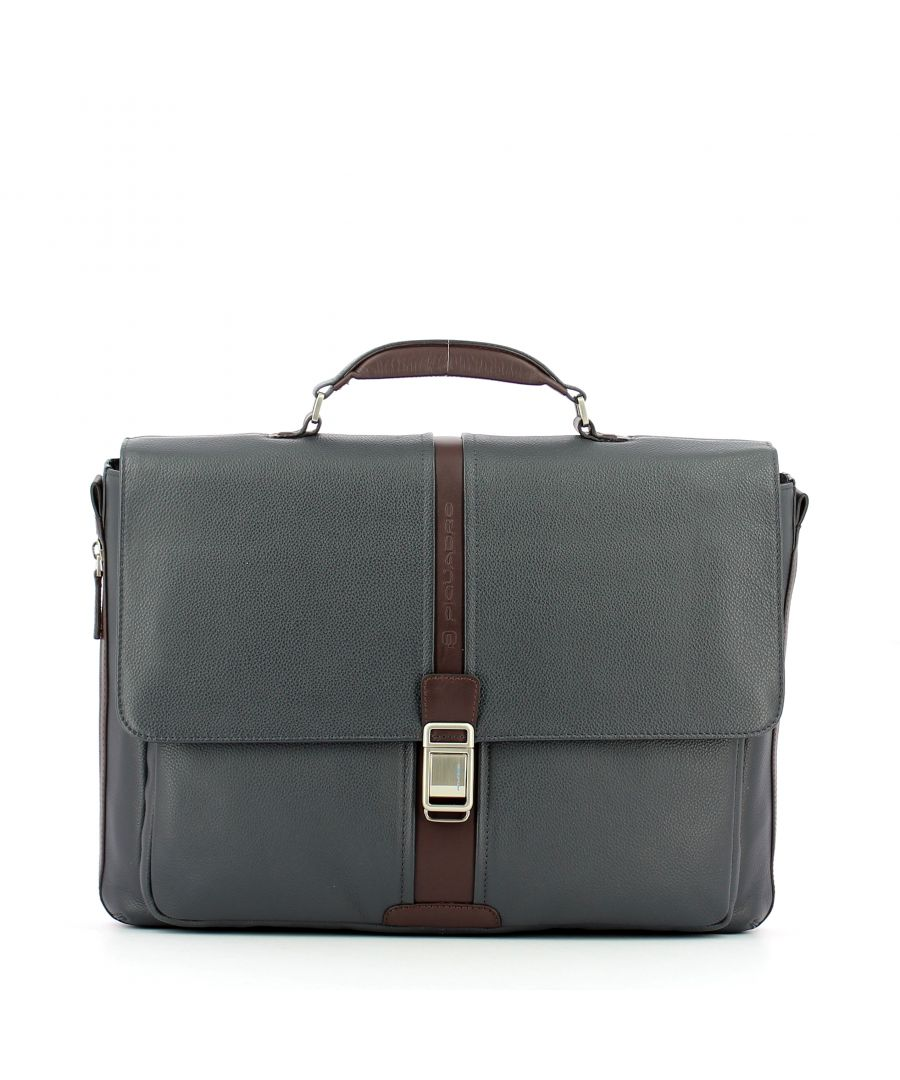 Image for Expandable leather Laptopbag 14.0 Piquadro BLU MARRONE