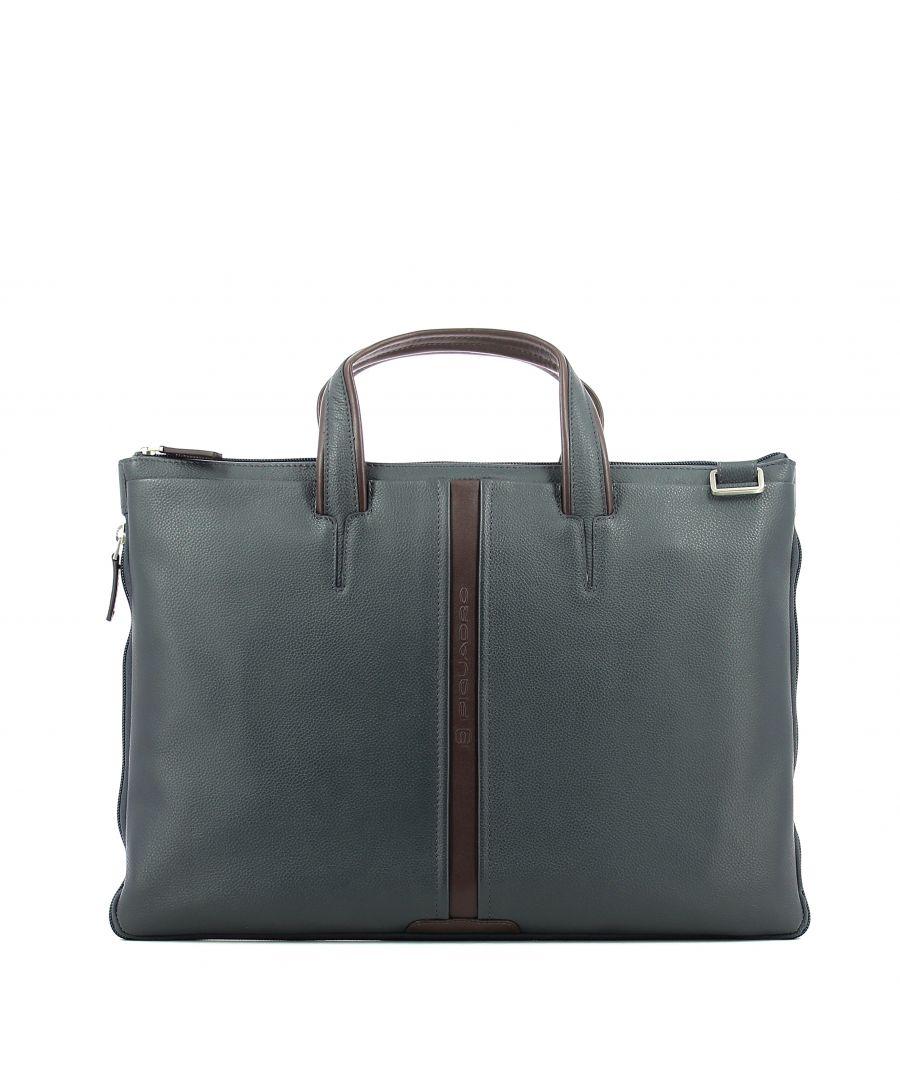 Image for Expandable slim briefcase Piquadro BLU MARRONE