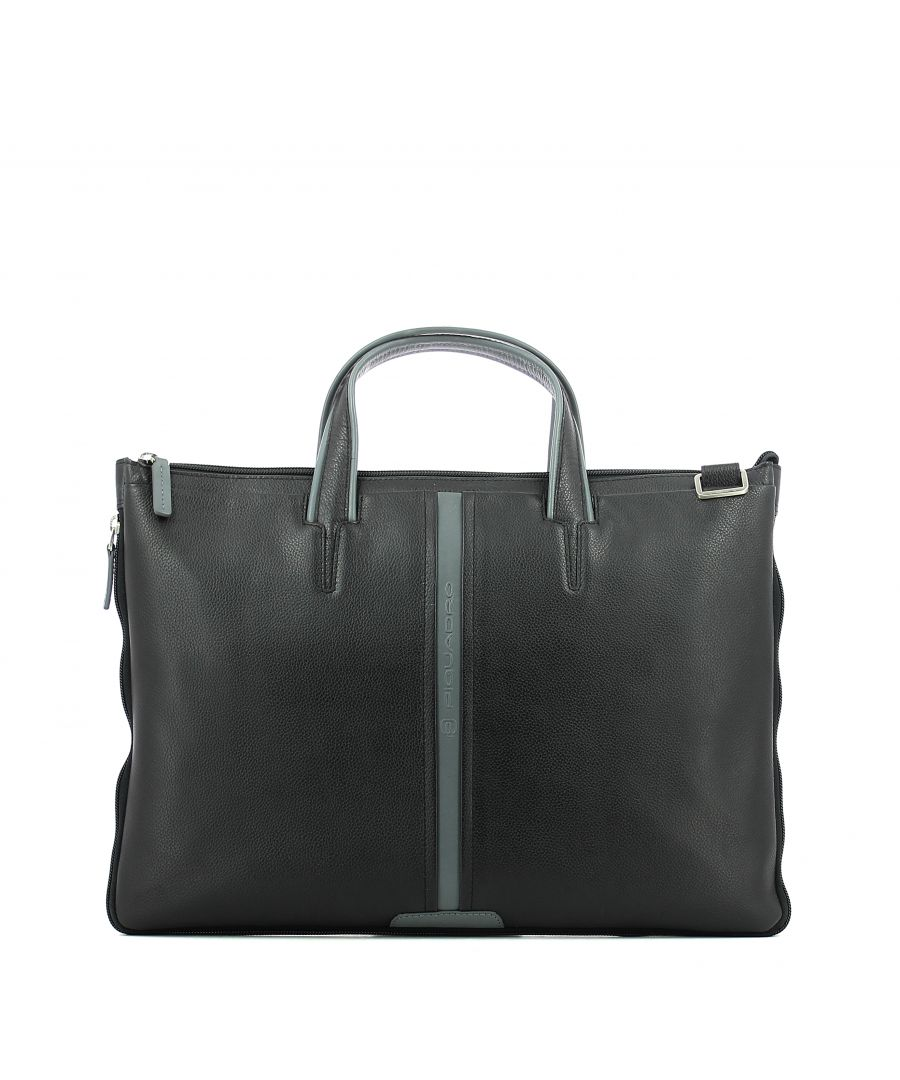 Image for Expandable slim briefcase Piquadro NERO GRIGIO