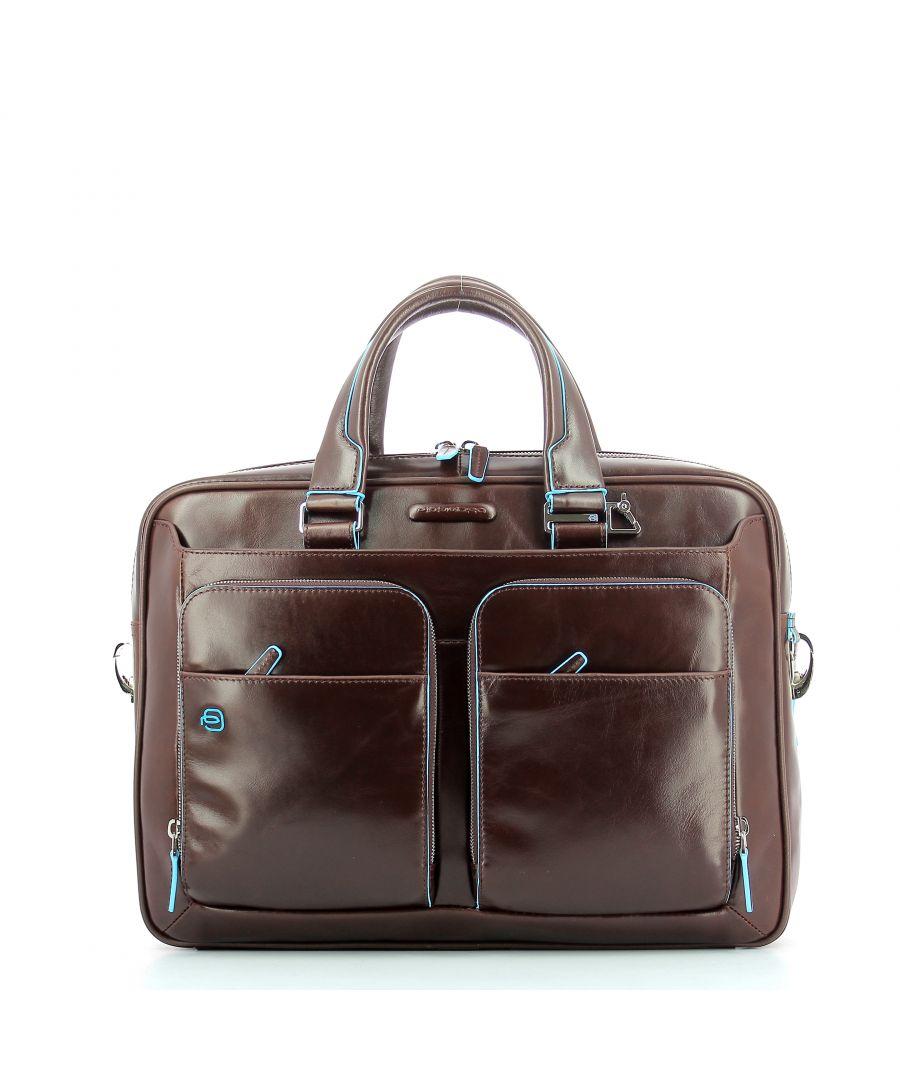 Image for Slim Briefcase Blue Square Piquadro MOGANO