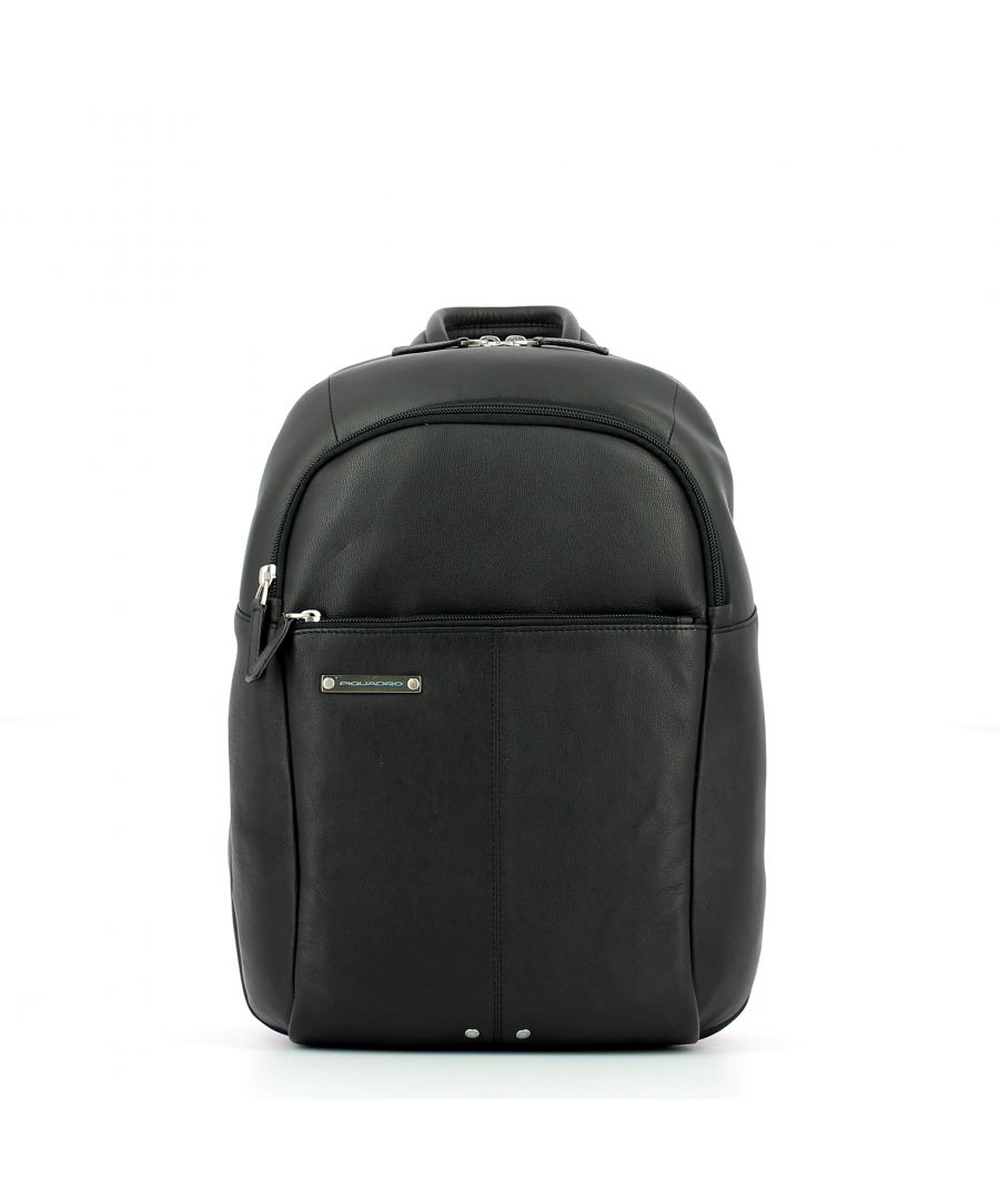 Image for Leather Backpack Medium Piquadro NERO