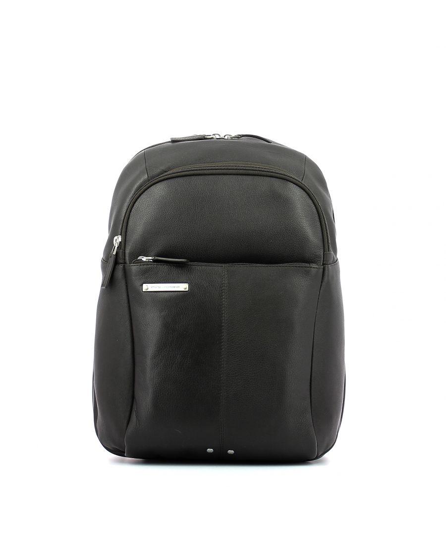 Image for Leather Backpack Medium Piquadro TESTA MORO