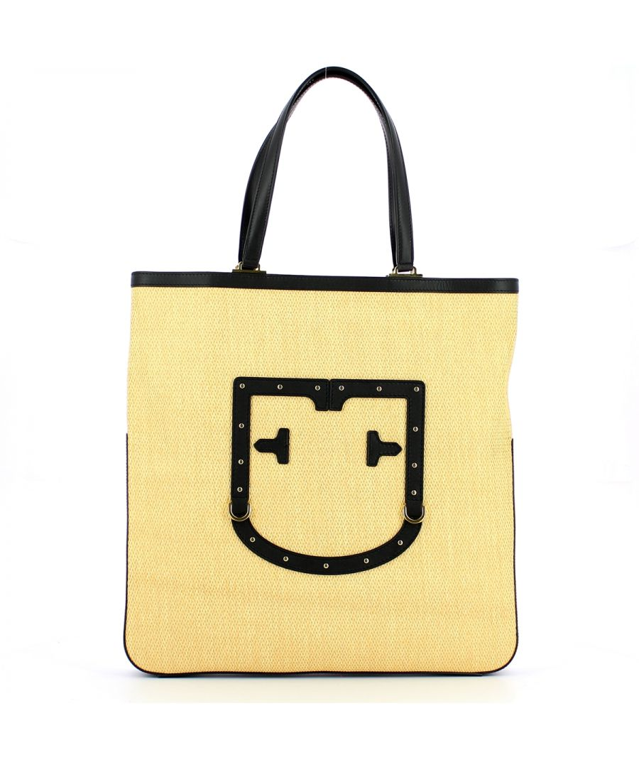 Image for Straw Tote Bag Fortezza L Furla BEIGE+ONYX