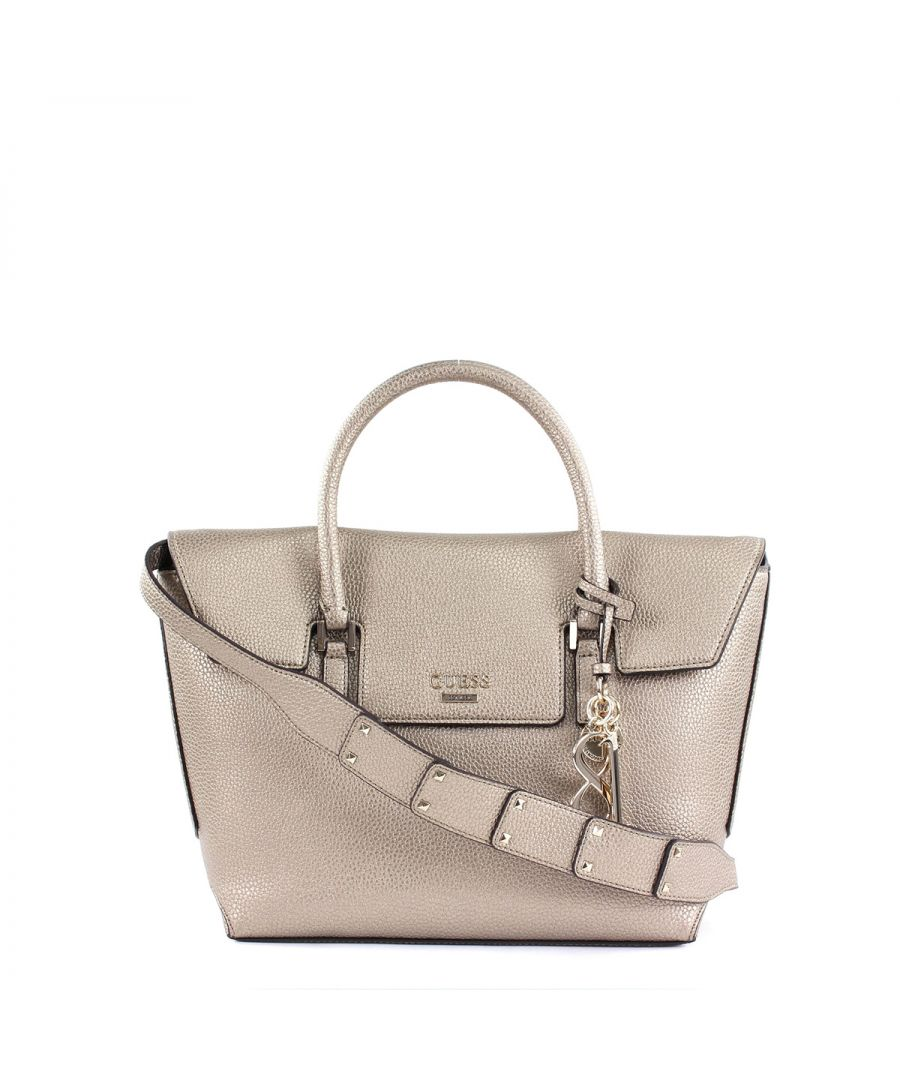 Image for West Side Flap Satchel Gold Guess PEWTER