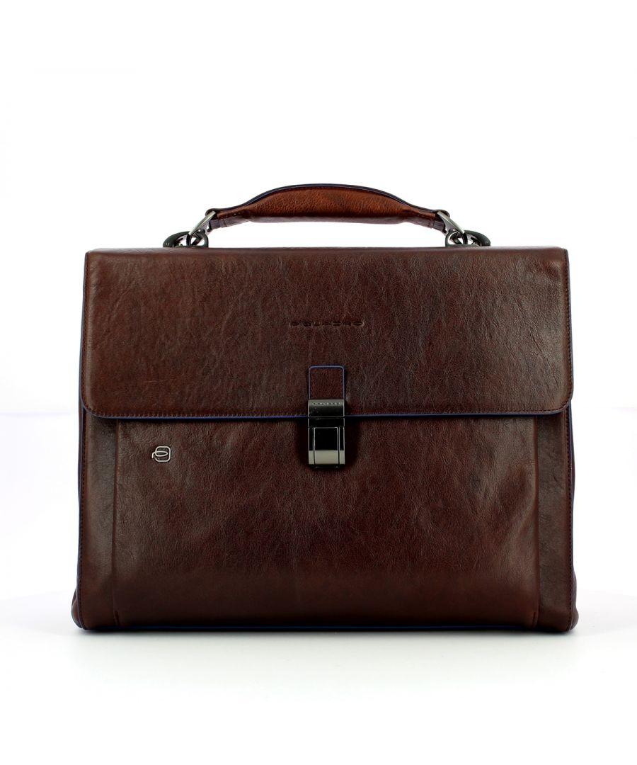 Image for Three gusset Blue Square Briefcase 15.6 Piquadro TESTA MORO