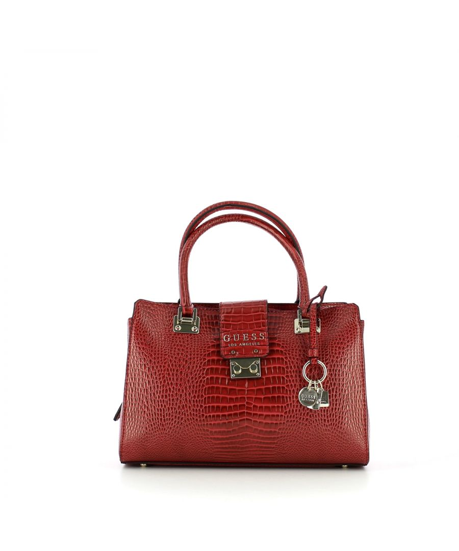 Image for Croc print Cleo Satchel Guess MERLOT