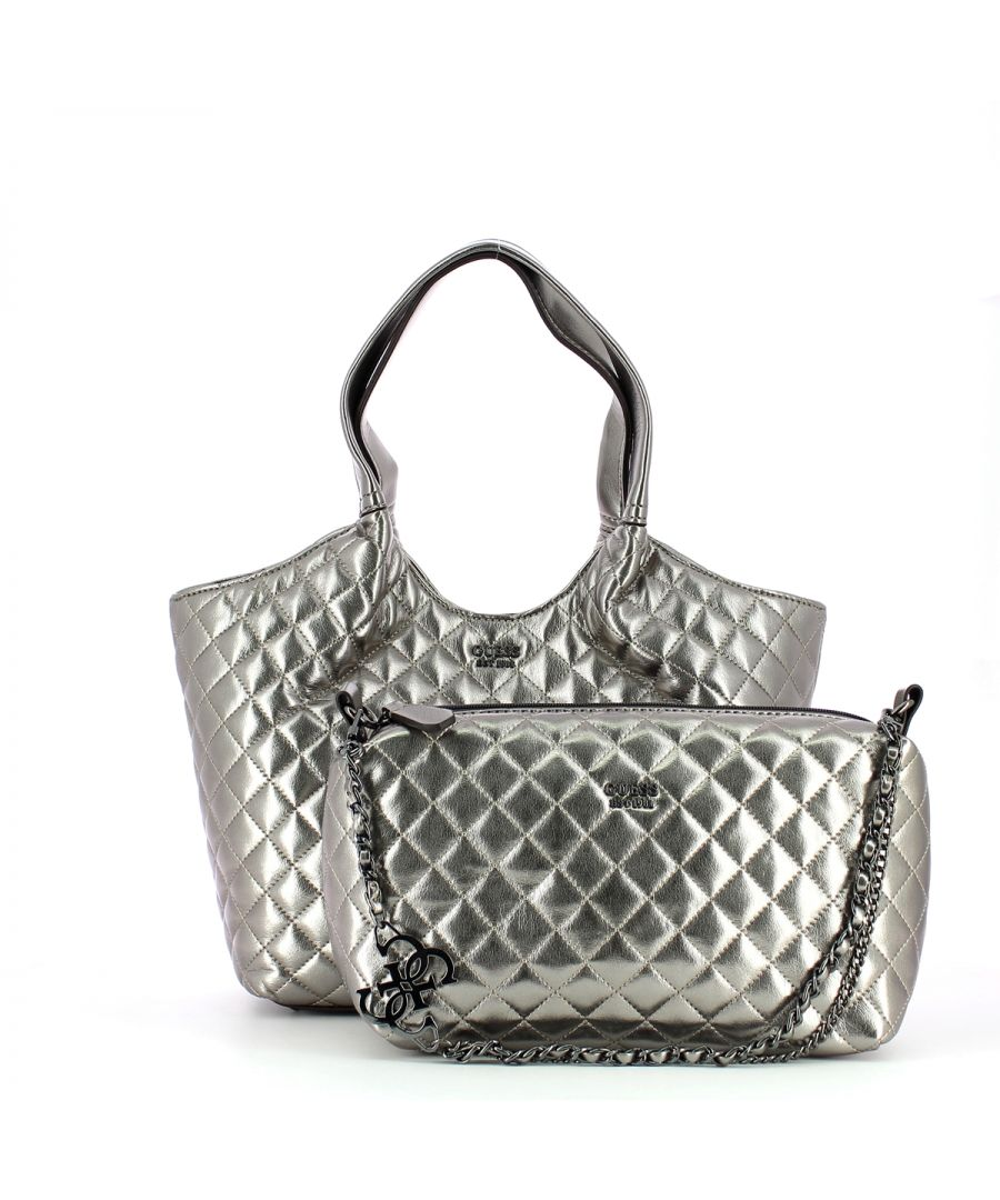 Image for Quilted Shopper Miriam Silver Guess PEWTER