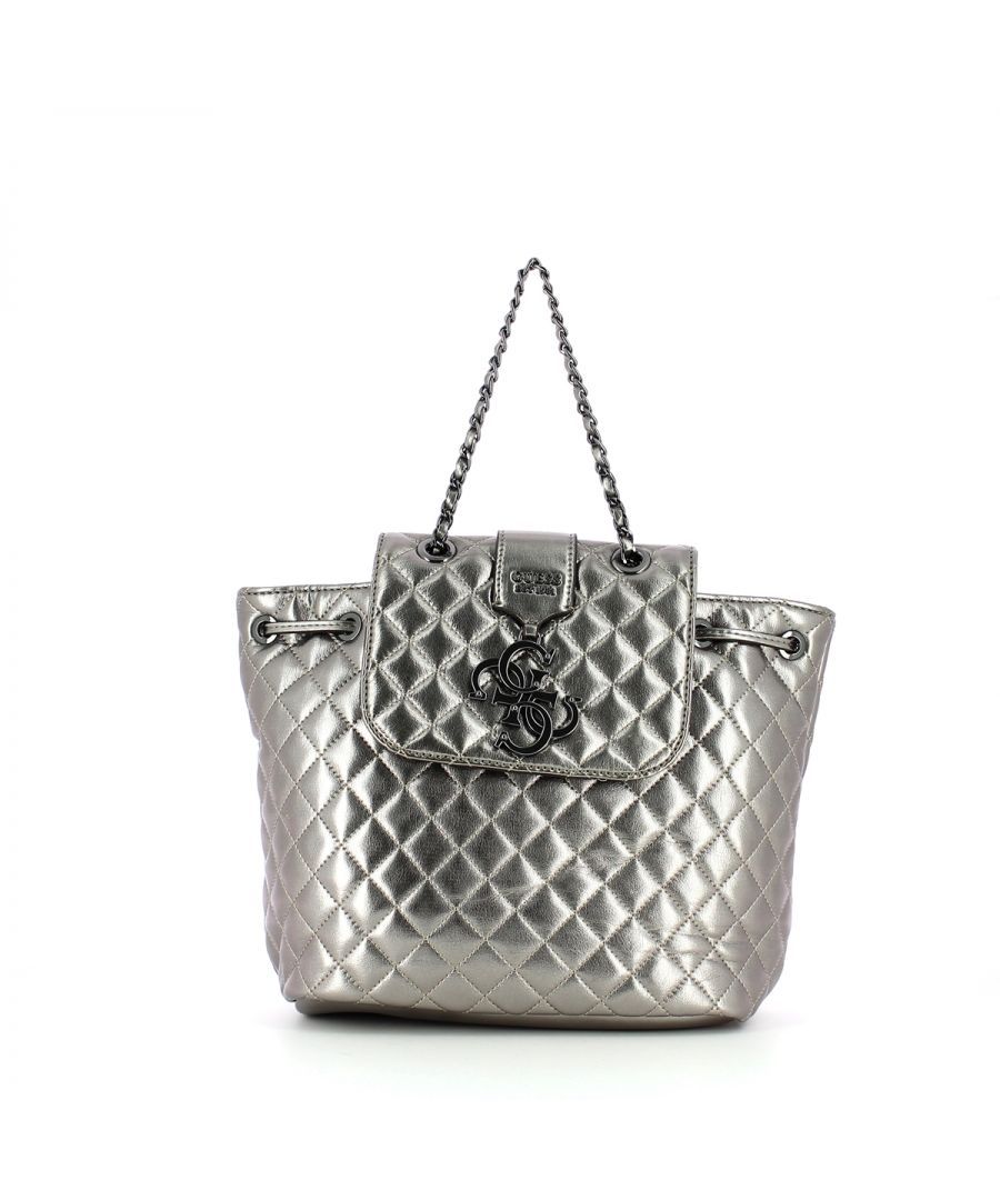 Image for Miriam Silver Quilted Backpack Guess PEWTER