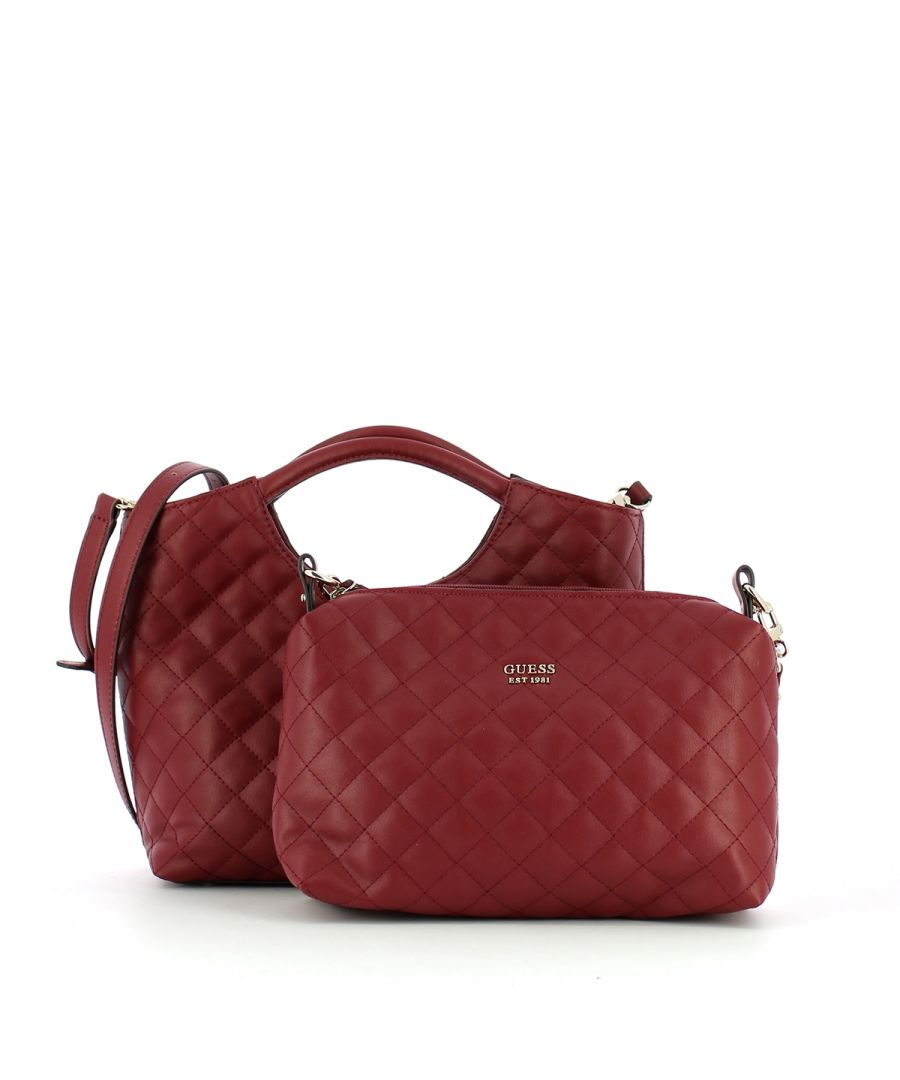 Image for Small Quilted Shopper Miriam Guess MERLOT