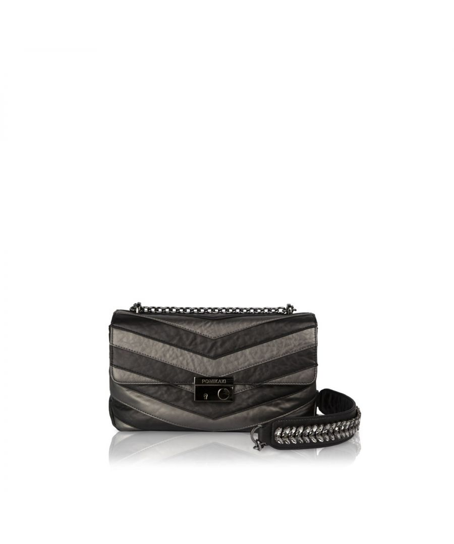 Image for Crossbody Bag Giulietta Chevron Pomikaki BLACK/GREY
