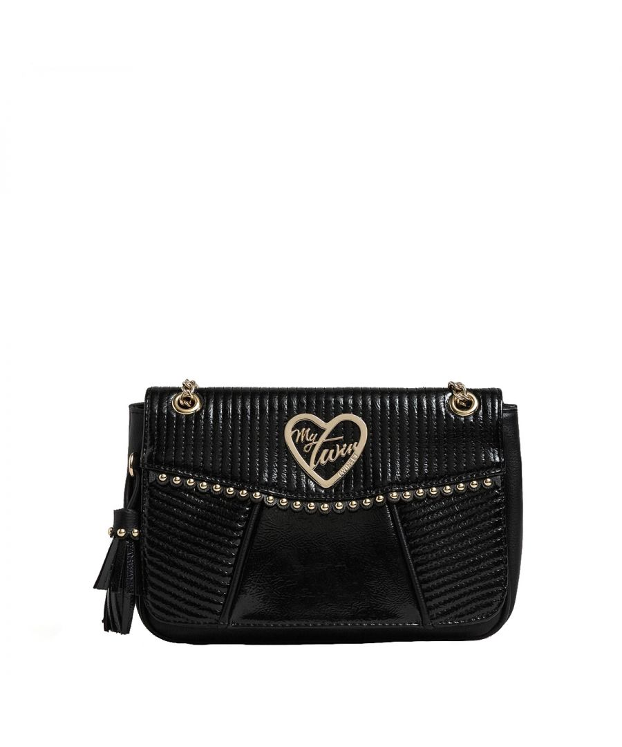 Image for Patent effect Small Crossbody Bag with studs My Twin NERO