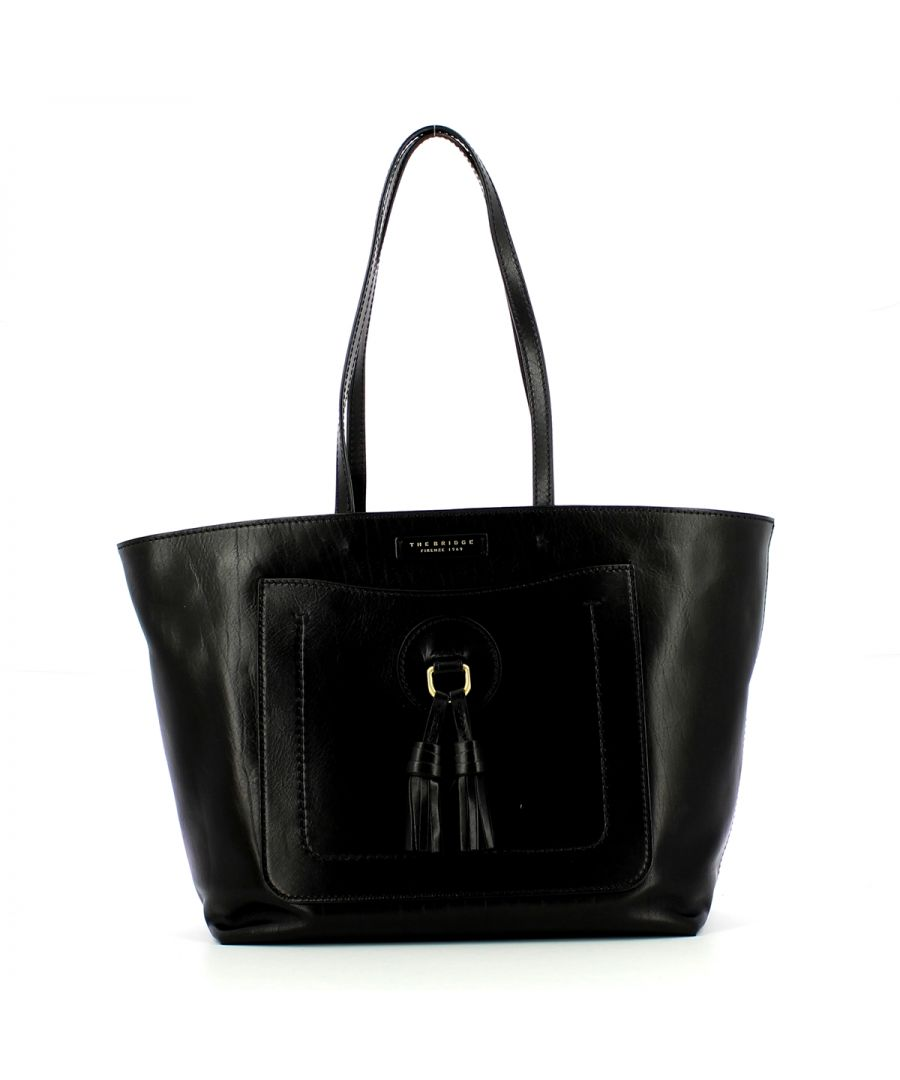 Image for Santacroce Shopper in leather The Bridge NERO ABB. ORO