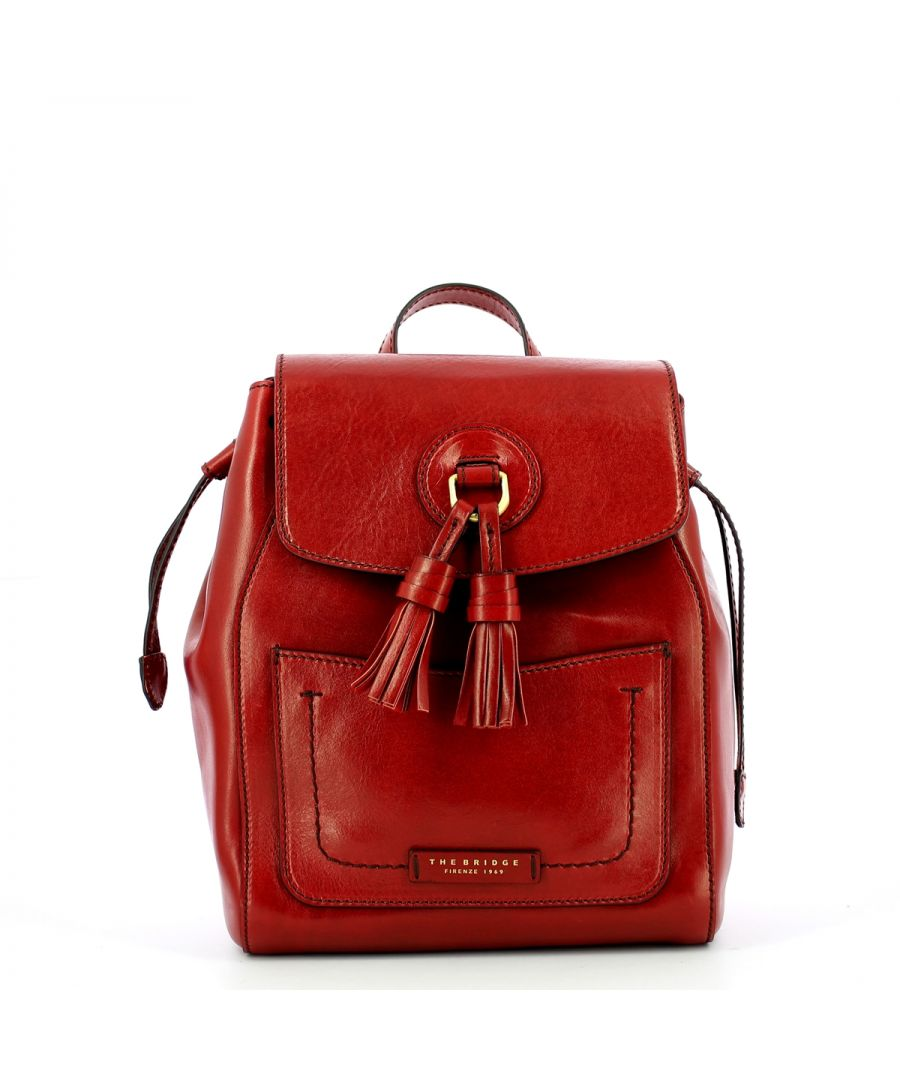 Image for Santacroce Drawstring Backpack in Leather The Bridge ROSSO RIBES/ABB