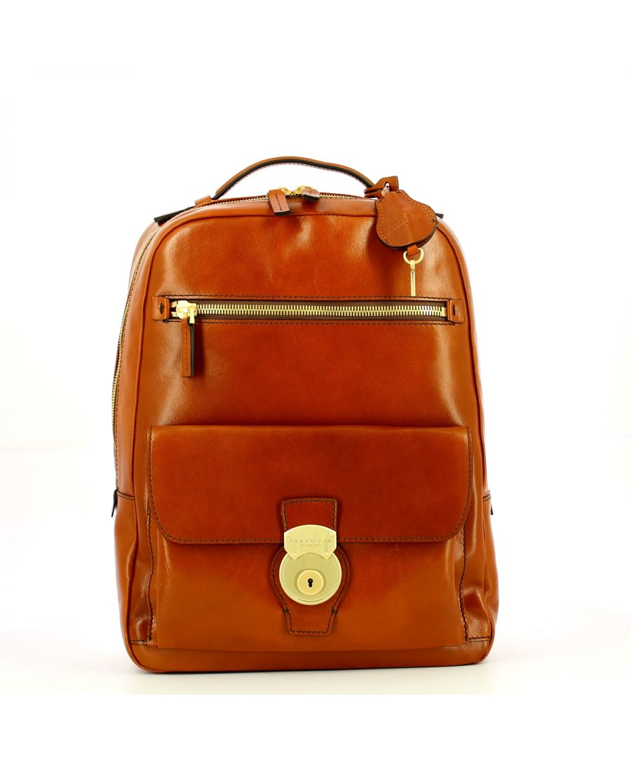 Image for Capalbio Backpack with front lock The Bridge COGNAC ABB. ORO