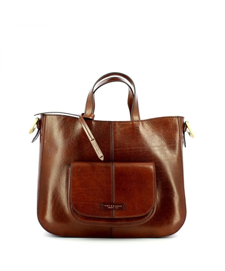 Image for Faentina Handbag with front pocket The Bridge MARRONE TB 14
