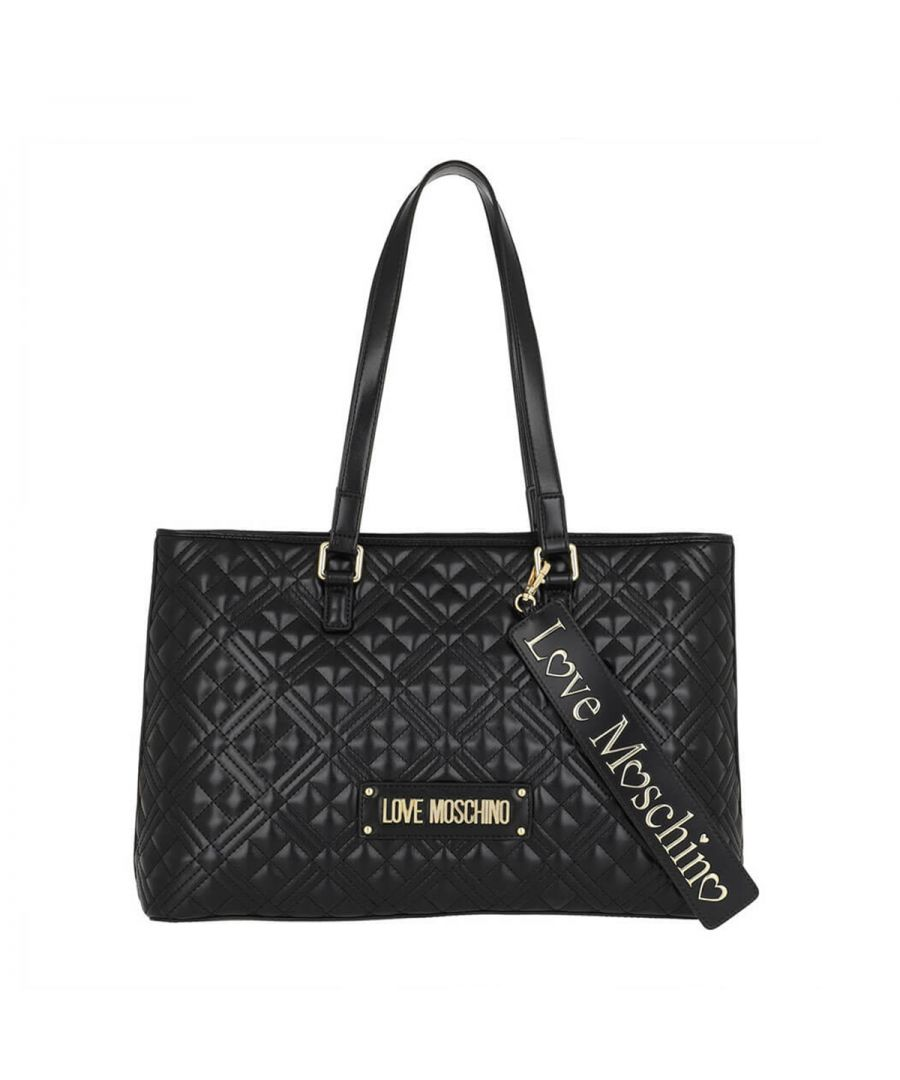 Image for Quilted Shopper with Tag Love Moschino NERO