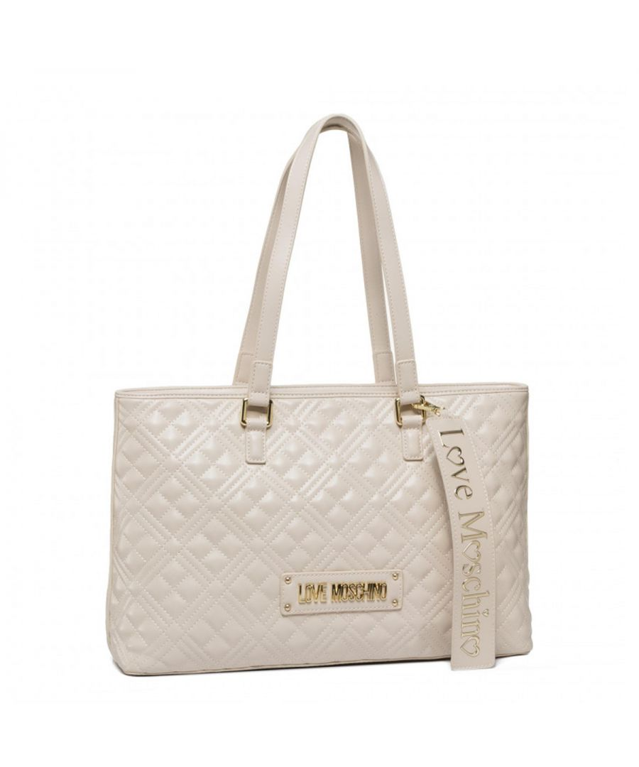 Image for Quilted Shopper with Tag Love Moschino AVORIO
