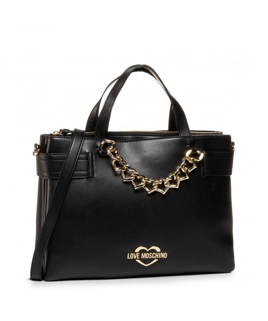 Image for Chain Hearts Satchel Love Moschino NERO