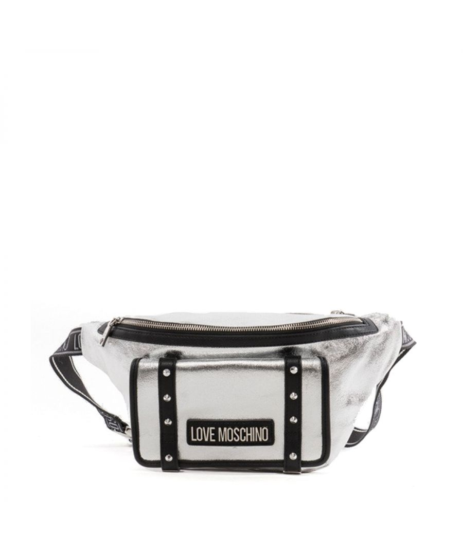 Image for Canvas Belt Bag with studs Love Moschino ARGENTO+PU NERO